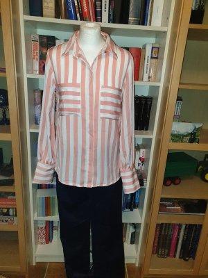 Bluse Polyester Vila NEu Gr. L (40) weiß / rosa Streifen Langarm