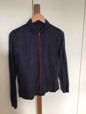 Bluse Promod Dunkelblau 100% Liocell Stickerei Größe 40
