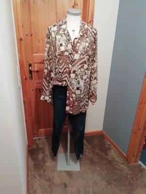 Primark Koszulowa bluzka brązowy-ciemnoniebieski Bawełna