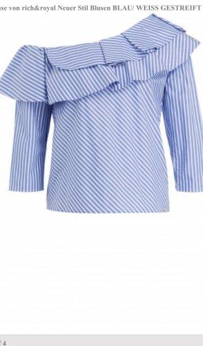 Rich & Royal Blouse Carmen blanc-bleu coton