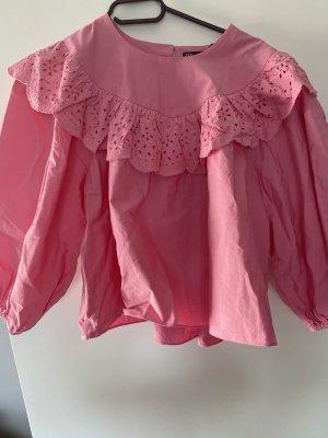 Bluse rosa L Rüschen
