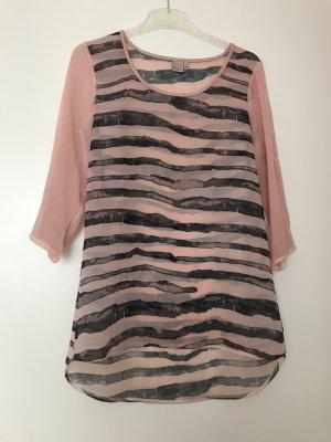 Bluse rosa schwarz gestreift Transparent, Liberty Woman S