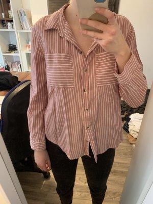 Bluse rosa, weiß gestreift