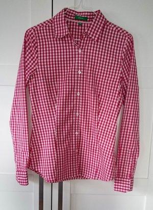 Bluse rot weiß langarm kariert Karo Trachten von Montego Gr. 34