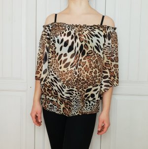 Bluse Schulterfrei Leopard Jaguar Gepard Hemd Top Tshirt T-Shirt Shirt Pulli Pullover