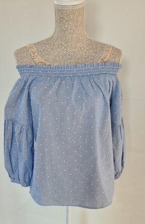 Only Carmen blouse lichtblauw-azuur Katoen
