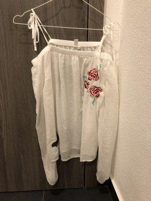 Bluse Schulterfrei weiß mit roter Blume