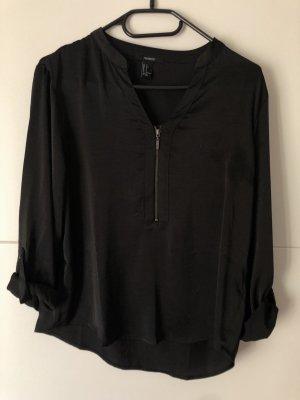 Bluse schwarz mit Reißverschluss schick