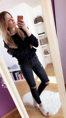 Bluse schwarz mit Spitzenärmeln Zara M
