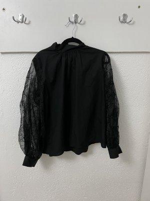 Bluse schwarz mit Tüllärmeln