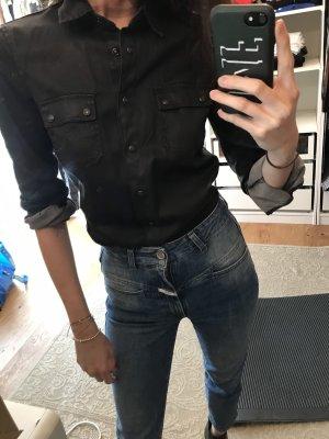 Bluse schwarz Stoff Lederoptik