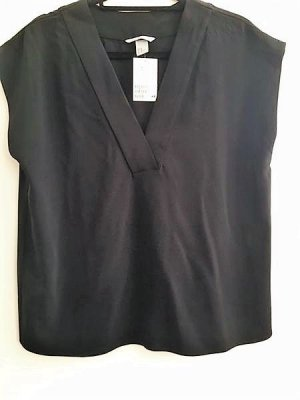 Bluse schwarz V-Ausschnitt ohne Arm