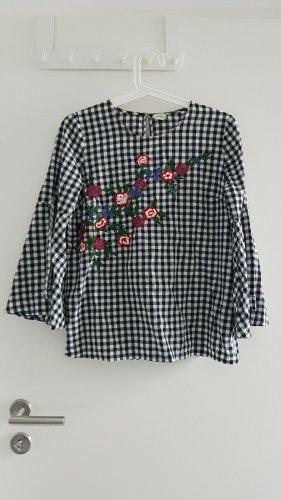 Bluse schwarz weiß kariert Stickerei Blumen Pimkie 36 Trompetenärmel