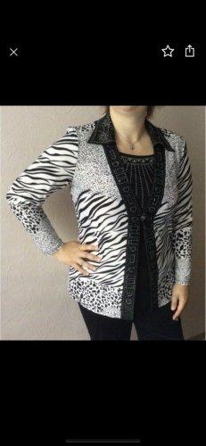 Bluse schwarz-weiß mit Strassteinchen NEU