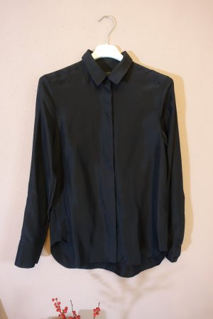 COS Long Sleeve Blouse dark blue silk