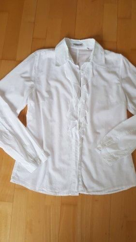 Bluse Seidensticker weiß mit Rüschen Gr. 36 Baumwolle langarm