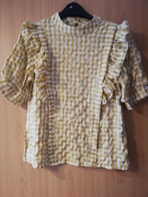 SheIn Checked Blouse white-pale yellow