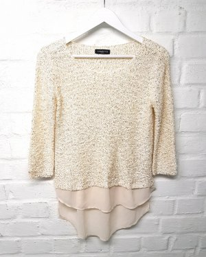Madonna Long Sleeve Blouse cream-gold-colored polyester