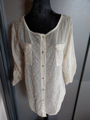 Bluse Shirt beige Pailletten Made in Italy