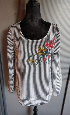 Bluse Shirt Blumen blau weiß gestreift Betty & Co
