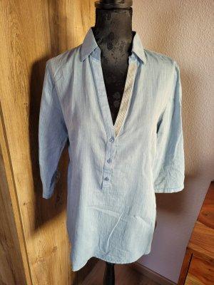 Bluse Shirt hellblau Orsay
