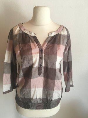 Bluse Shirt kariert Blusenshirt leicht rosa grau Gr. 36