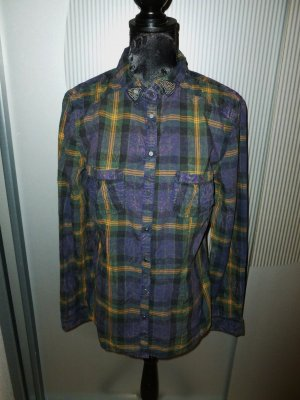 Bluse Shirt lila gelb Clockhouse