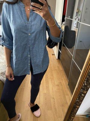 Bluse Shirt M 38 blau Leine Baumwolle