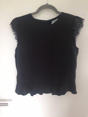 Bluse Shirt mit Spitze und Schlitz am Rücken Zara Basic