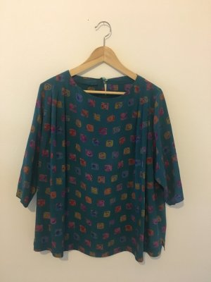 Bluse Shirt Oberteil Top weit Petroleum blau gemustert abstrakt fuchsia  Senf gerade fließender Fall angenehm