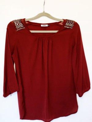 Bluse Shirt Only Größe S Rot bordeaux Perlen Glitzer Schmuck Damen Neu 34,99€