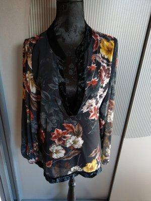 Bluse Shirt schwarz Blumen samt Made in Italy