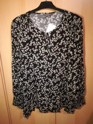 Bluse / Shirt schwarz mit weißen Blümchen - Yessica - 48 - NEU