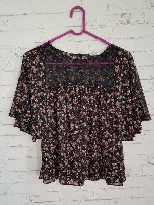 Bluse Shirt Top Gr 36/38 Spitze schwarz  Zara