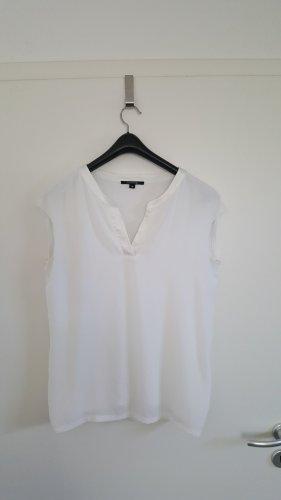Bluse/Shirt von Comma, Kurzarm, V-Ausschnitt, Weiß, Größe 38
