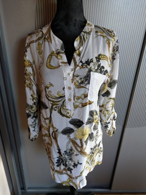 Bluse Shirt weiß khaki Made in Italy