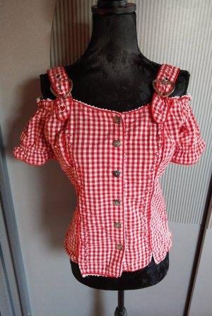 Clarina Geruite blouse wit-donkerrood