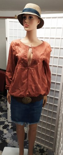 Bluse Shirtbluse in Bohostyle mit Stickerei rostbraun Opus S/M