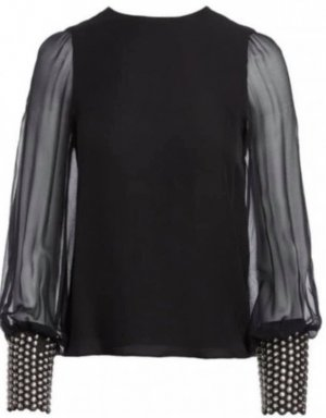 Alice + Olivia Silk Blouse black silk
