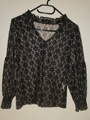 Reserved Lace Blouse black-oatmeal