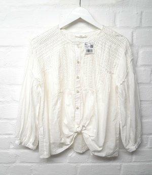 Mango Long Sleeve Blouse white-natural white cotton