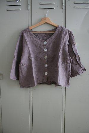 Linen Blouse grey brown linen