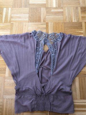 Bluse,T-Shirt, rückenfrei Spitze, Gr. 36, Zara, Graulila