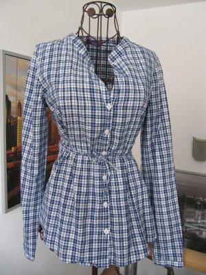 Bluse tailliert blau weiß kariert Langarm Baumwolle Gr. 36