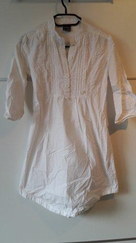 Bluse tailliert lang weiß Blusenkleid
