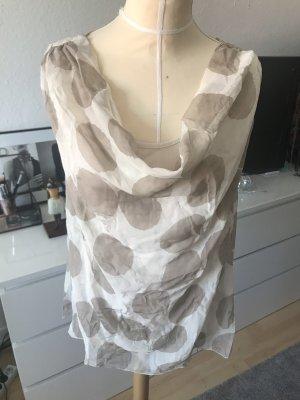 Bluse / Top aus Seide in Creme Beige mit Punkten