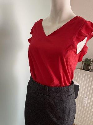Bluse Top mit Rüschen von 123 Gr 34 36 XS rot