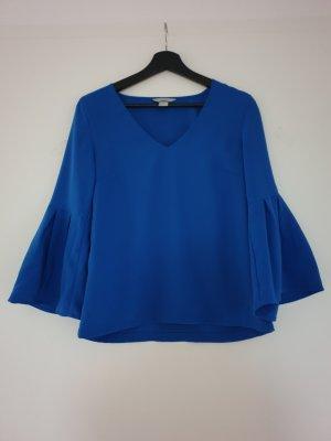H&M Top z falbanami niebieski
