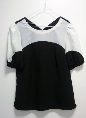 Bluse Top Shirt schwarz weiß von Nife Gr. 36
