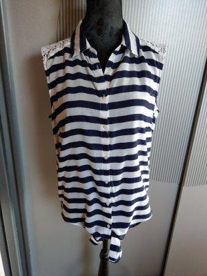 Bluse Top Shirt weiß blau gestreift Spitze Yessica